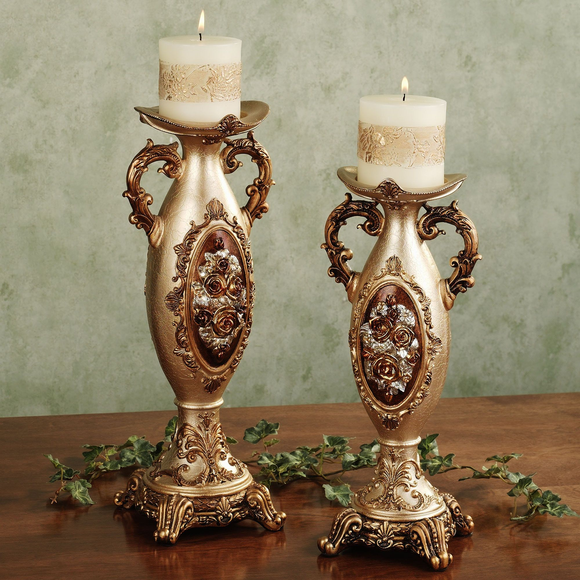 Golden Rose Candleholder Set
