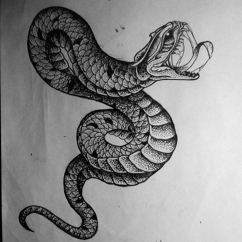 Wonderful dotwork snake tattoo design Snake tattoo