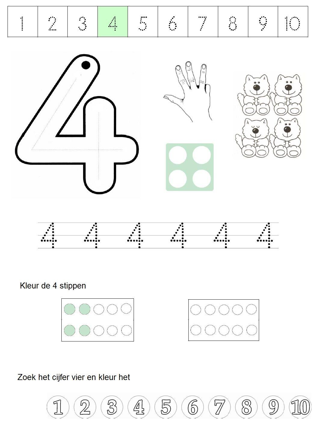 werkblad cijfer 4 cijfers leren schrijflessen werkbladen