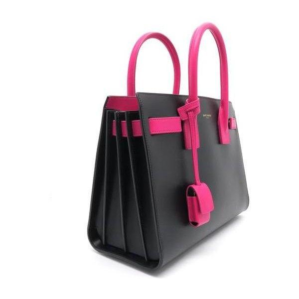 Saint Laurent Sac De Jour Black/Pink Calfskin Leather Satchel ❤ liked on Polyvore featuring bags, handbags, yves saint laurent purse, calfskin handbag, pink satchel handbags, pink satchel purse and pink purse
