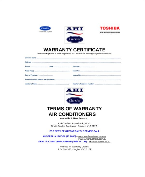 warranty certificate template free word pdf documents download - blank certificates templates free download
