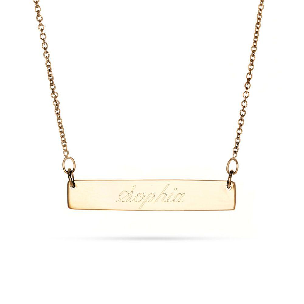 14k Gold Name Bar Necklace 14k Gold Bar Necklace Bar Necklace Nameplate Necklace Gold