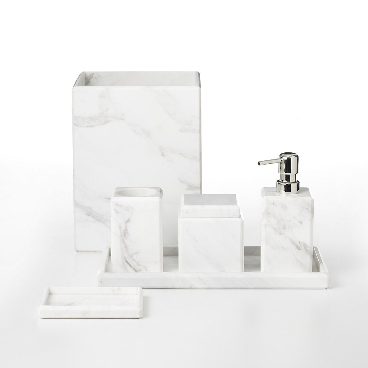 "waterworks studio ""white marble"" wastebasket 
