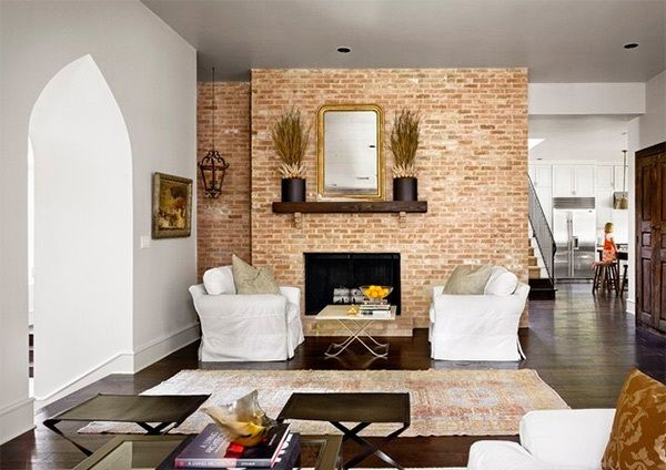 Modern Living Room With Brick Fireplace exceptional living room design ideas with brick wall accents