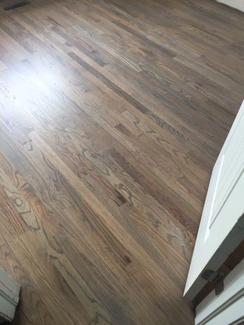 Red oak floors with classic grey and weathered oak stain for Classic wood floors