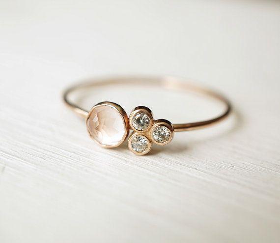 Rosenquarz Ring Moissanite Ring Multi Stein Ring Verlobungsring