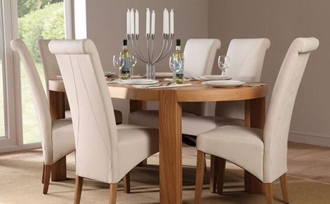 Clifton Oval Oak Dining Table And 4 Chairs Set Richmond Cream Adorable Cream Dining Room Furniture Inspiration Design