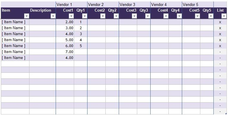 Competitor Price Comparison Excel Template Spreadsheet Template Excel Templates Employment Letter Sample