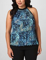 Blue Cheetah Date Night Halter by Lane Bryant Outlet
