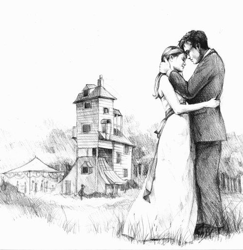 A little fan art of Harry and Ginny getting married with the