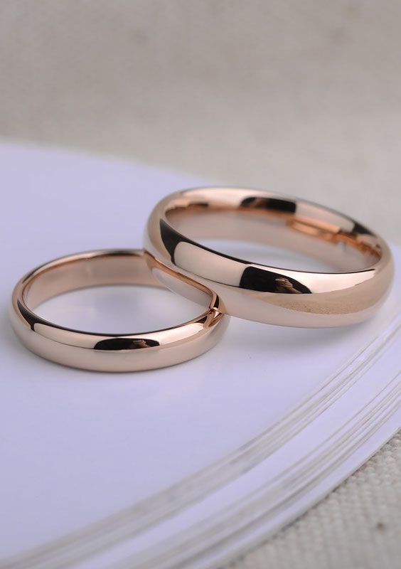 Rose Gold Domed Polished Tungsten Wedding Rings Set
