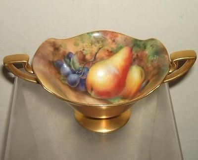 Royal Worcester Fruit Painted Twin Handle Stemmed Bowl - Signed ...
