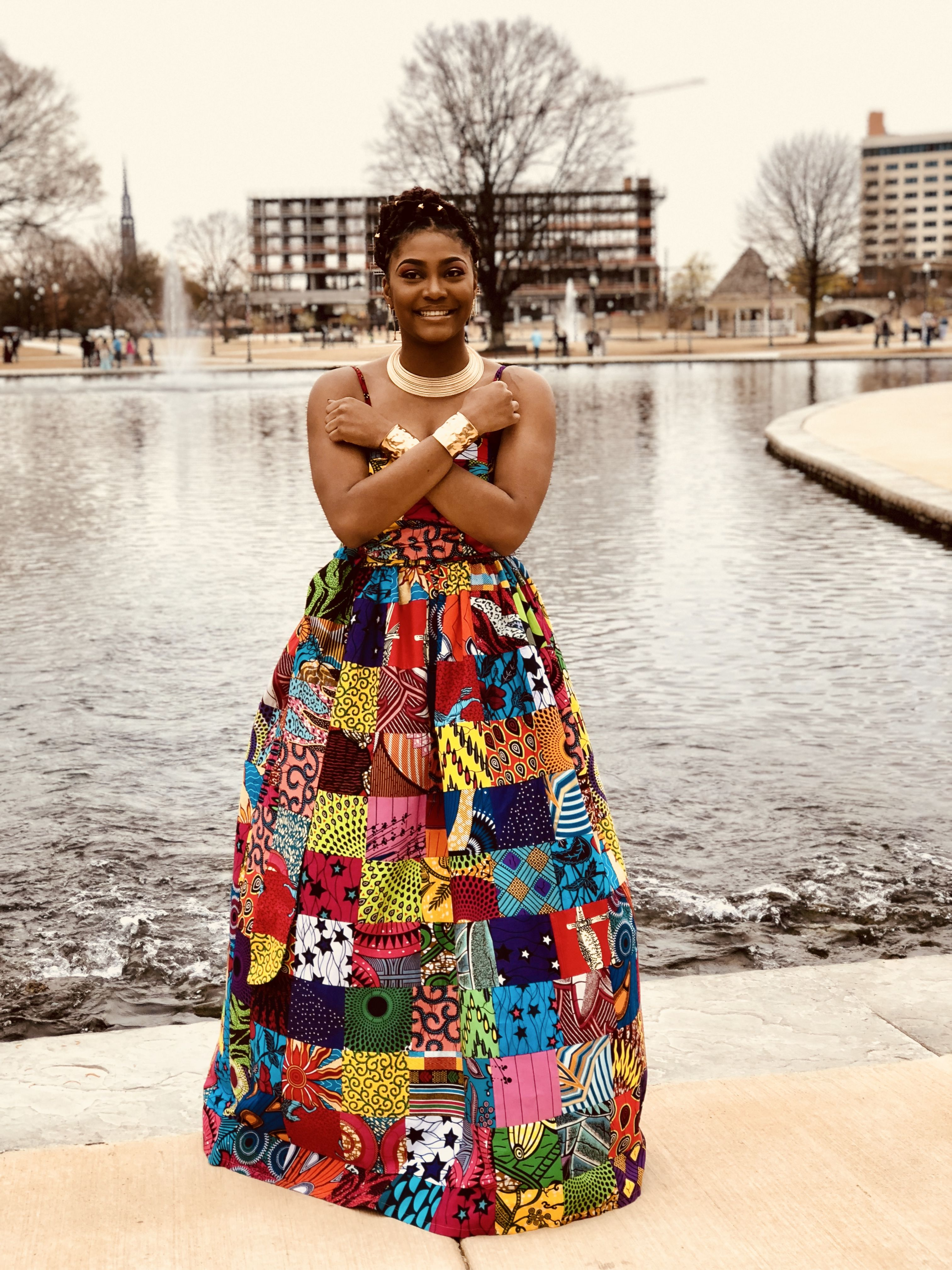 Sweetheart patchwork african wax print maxi dress with pockets