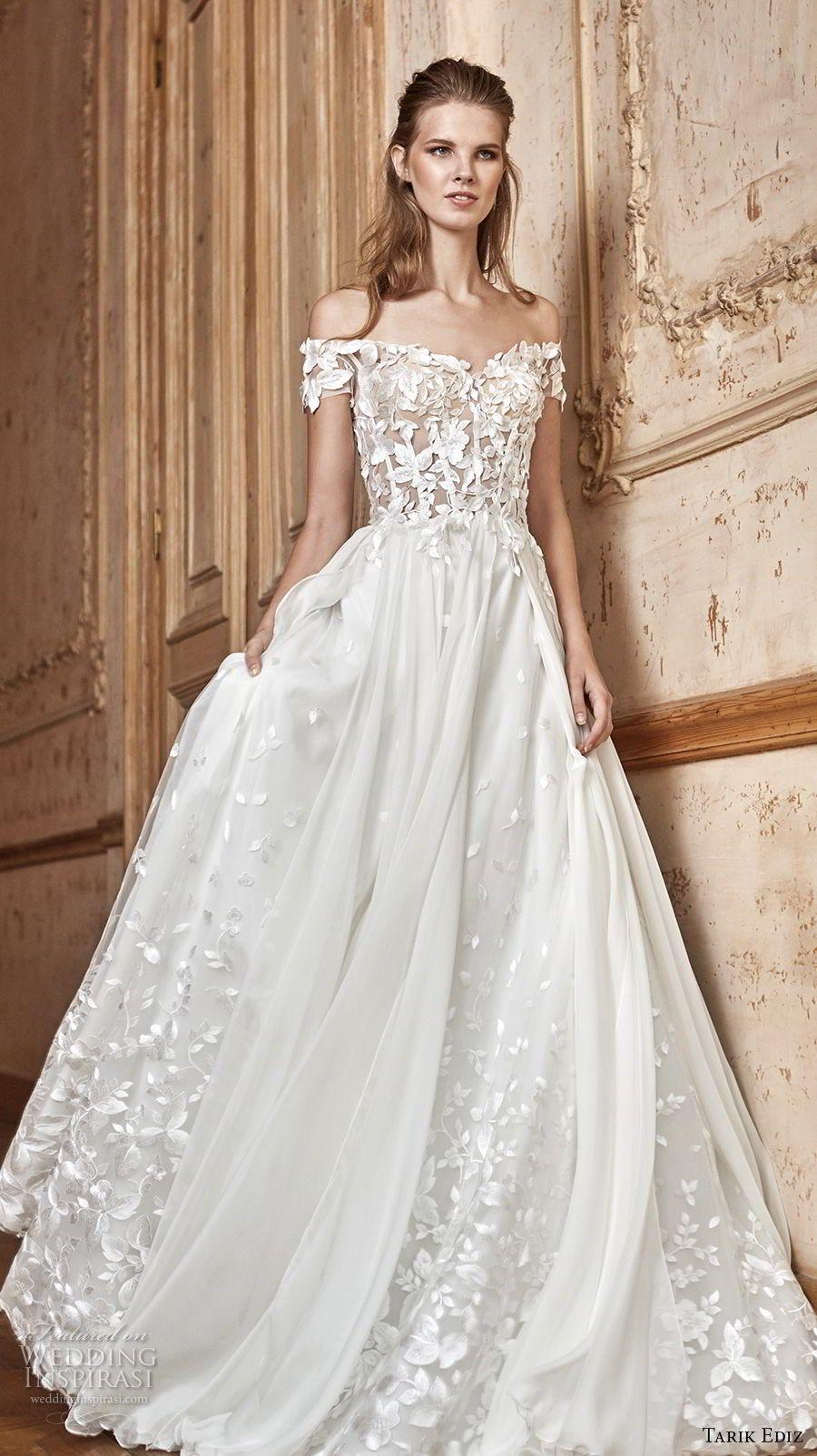 Tarik Ediz 2017 Bridal Off The Shoulder Sweetheart Neckline Heavily Embellished Bodice A Line Wedding Dress 28 Mv White