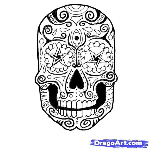 How to Draw a Sugar Skull   sugar skulls   Pinterest   Dia de Los ...