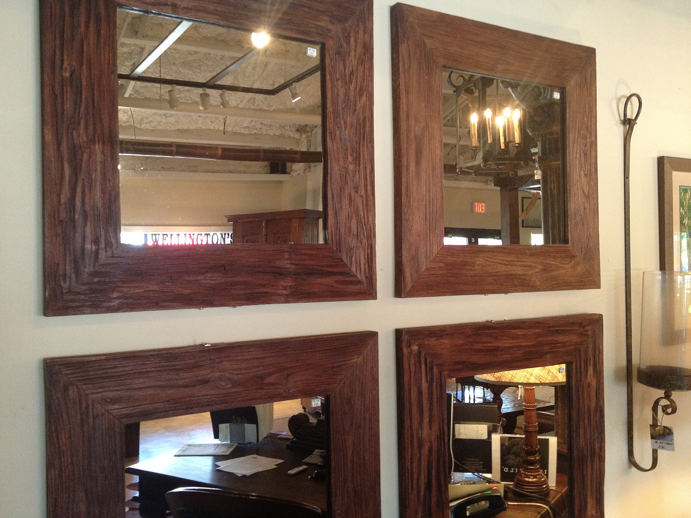 Square Four Piece Mirror  #mirror #home #decor #wood #