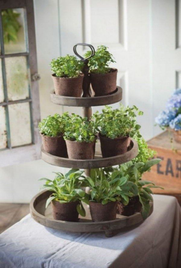 Tiers of herbs. http://hative.com/cool-diy-indoor-herb-garden-ideas ...