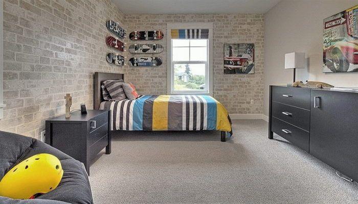 exposed brick wall ideas in kids' bedroom / playroom - cool modern