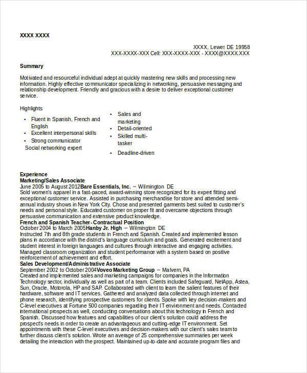Marketing Sales Associate Resume  Marketing Resume Samples For