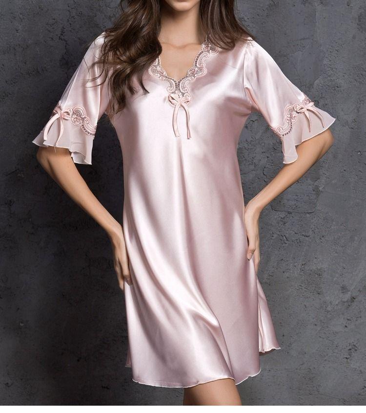 Nightgown Pijama Victoria Sexy Silk Night Dress Lace Plus Size Short Sleeve  Pyjamas Women Nightwear Sleepwear 86a413410