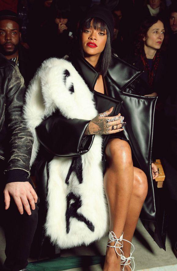 Rihanna wears over-sized fur shrug at PFW show