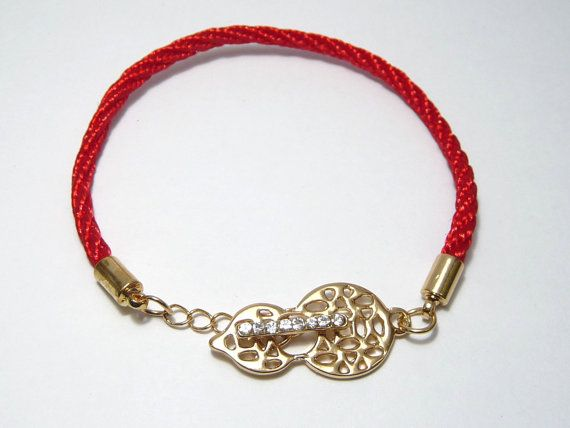 A gold plated crystal charm bracelet A red silk by artstudio88