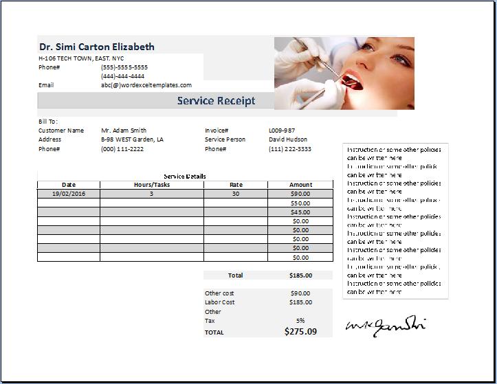 Dentist Receipt Template Free Receipt Templates In 2021 Receipt Template Free Receipt Template Dentist