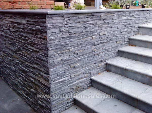 Exterior black slate panel stone wall cladding tile slate stone venner pinterest wall for Exterior stone cladding panels