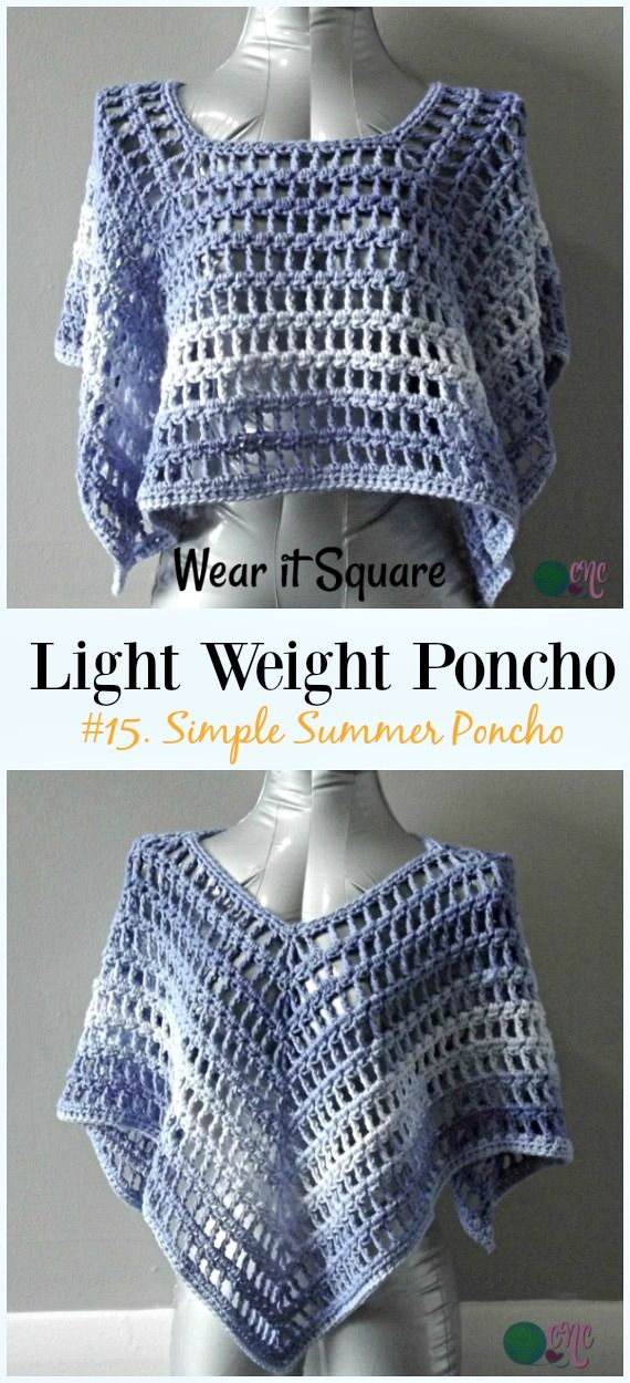Light Weight Spring Summer Poncho Free Crochet Patterns | PONCHOS Y ...