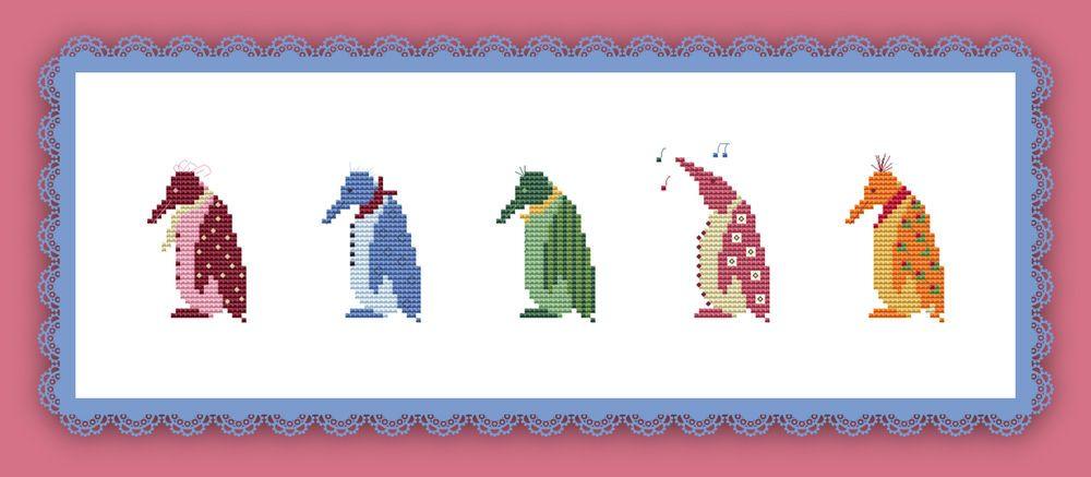 Stickvorlage pinguine farbig kreuzstich sticken - Sticken vorlagen kostenlos ...