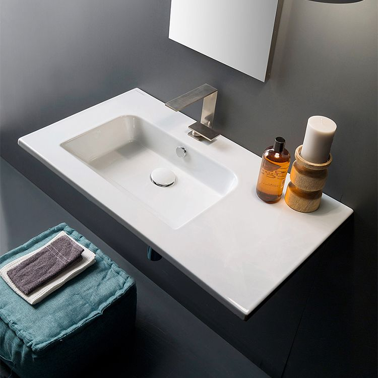 Sleek Rectangular Ceramic Wall Mounted With Counter Space Wall