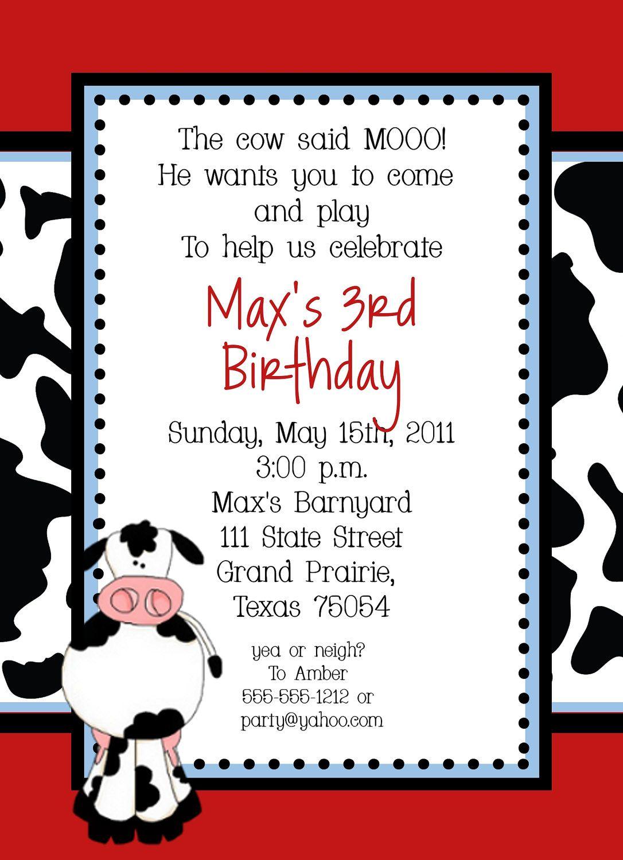 Cow Farm Birthday Party Invitation - Custom DIY. $15.00, via Etsy ...