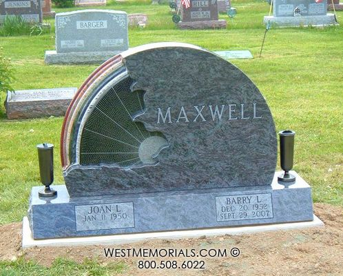 Maxwell Blue Granite Headstone With Carved Rainbow And Sun Granite Headstones Cemetery Monuments Headstones