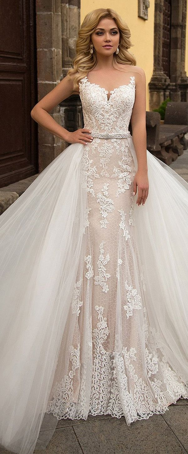 Alluring Tulle & Lace Sheer Jewel Neckline 2 In 1 Wedding Dress With ...