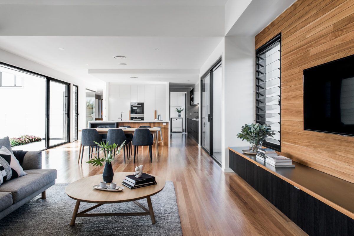 Kalka Rochedale display home living space Home, Coastal