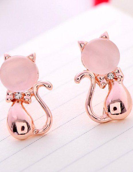 Pair of Sweet Cute Rhinestone Opal Cat Shape Earrings For Women in ... 4d29c84b8c