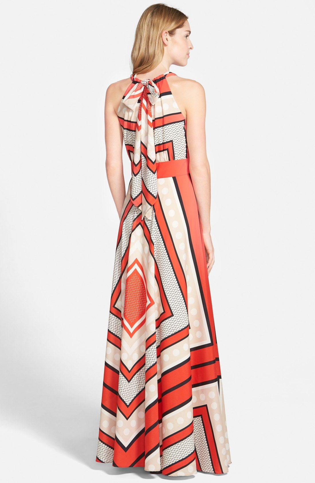Eliza J Scarf Print Crêpe de Chine Fit & Flare Maxi Dress
