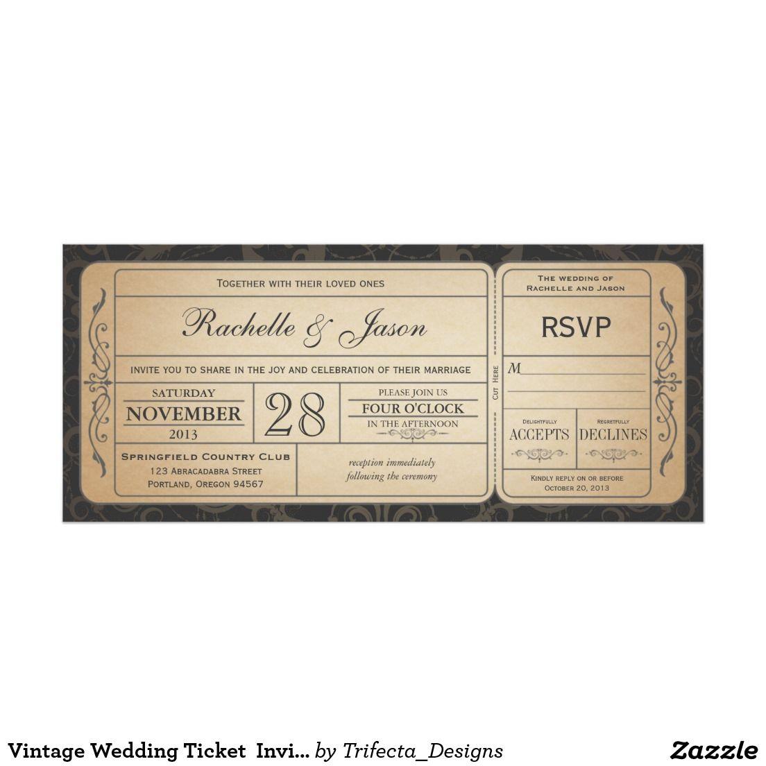 Vintage Hochzeits-Karten-Einladung mit UAWG 3,1 10,2 X 23,5 Cm ...