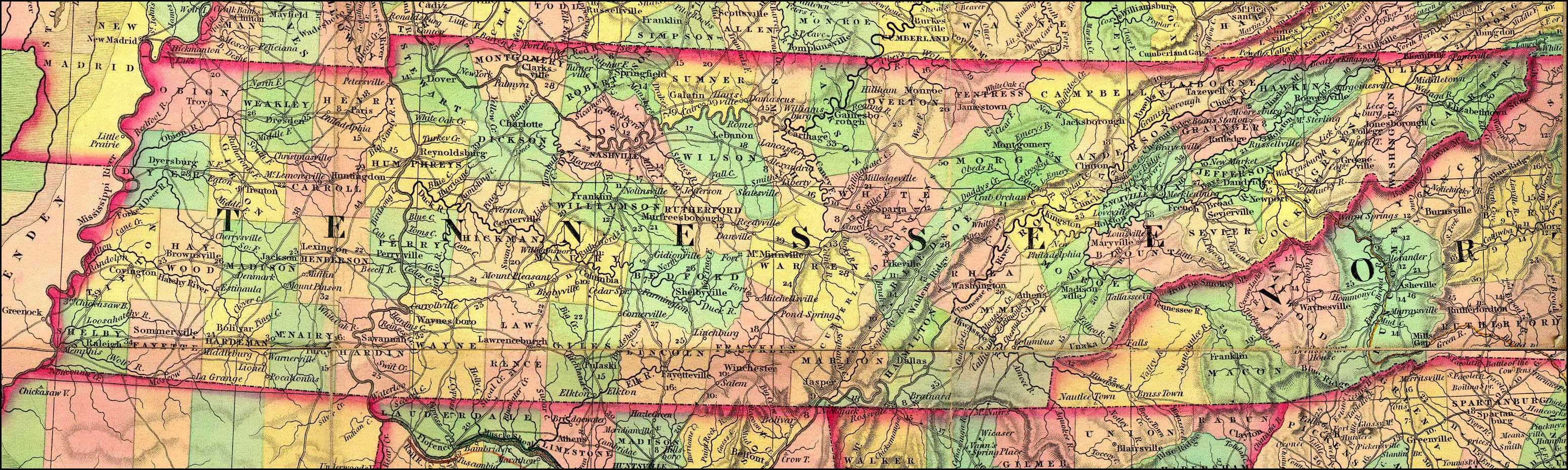 early bledsoe county tn maps | detailed tennessee map 1834 ...