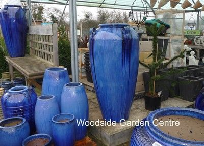 Extra Large Glazed Tall Blue Temple Jar Vase Related Items Planters