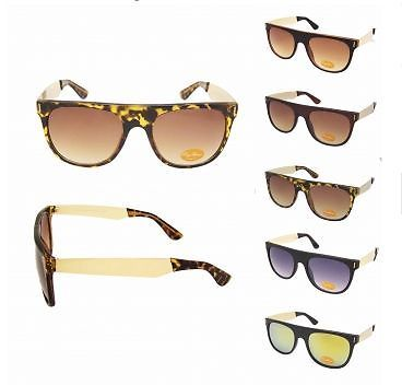 RETRO SQUARE THICK FLAT TOP DESIGNER GOLD METAL ARM VINTAGE SUNGLASSES STYLE 60s