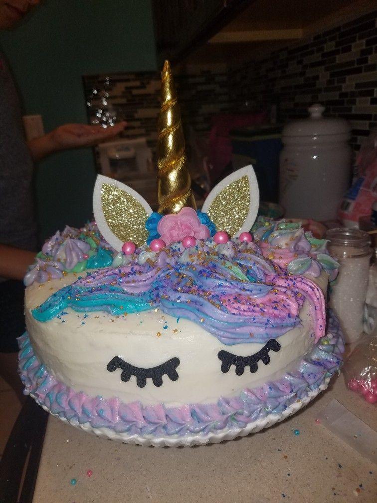 Egg free unicorn cake 1 box of cake mix 1 can of
