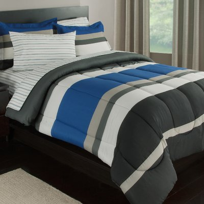 Ebern Designs Orrville Reversible Comforter Set Color Blue Gray