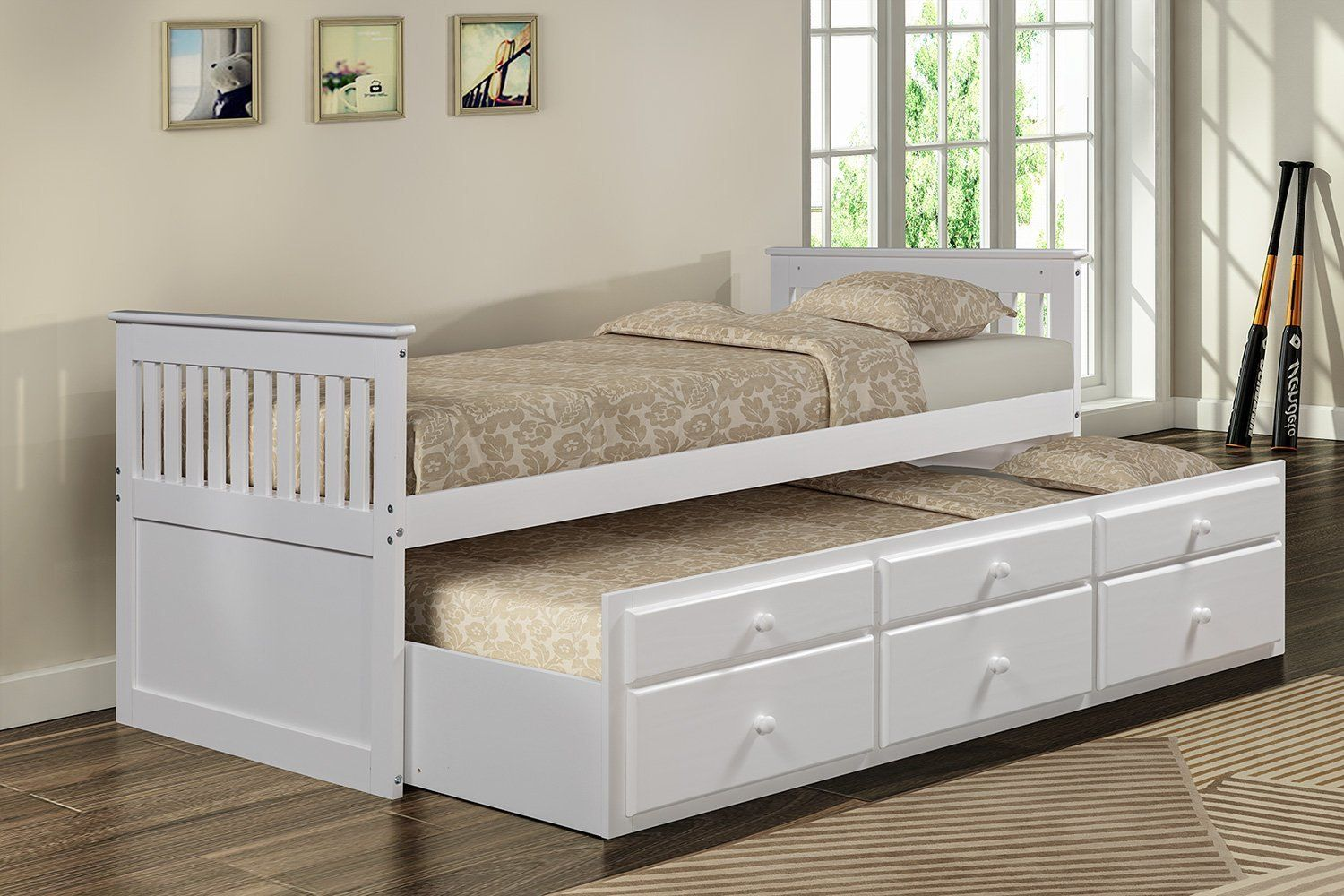 Merax Solid Wood Captain Bed With Trundle And Drawers Twin Multiple Colors Walmart Com Trundle Bed Bed With Drawers Captains Bed