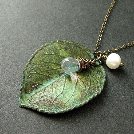 Leaf necklace with verdigris patina.