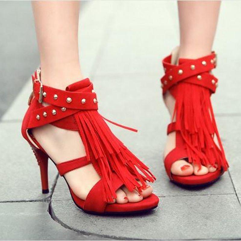 Sexy Tassel Cover Heel Summer Sandals high Heel 8.5cm Gladiator Sandals Women