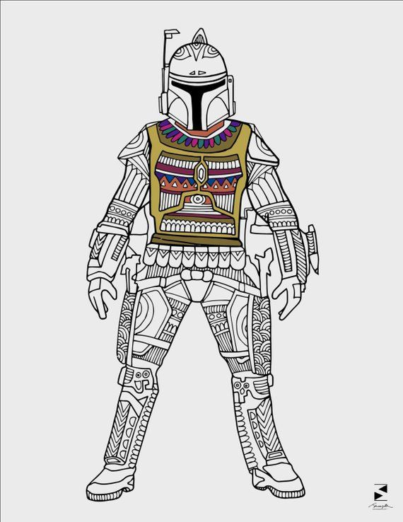 Star Wars Coloring Pages, Boba Fett, Printable Adult ...