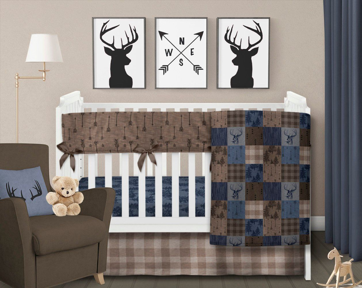 Rustic Crib Bedding Set Boy Nursery Bedding Deer Crib Bedding Plaid Baby Blanket Navy Blue Brown Tan Woo Deer Crib Bedding Boy Nursery Bedding Rustic Crib