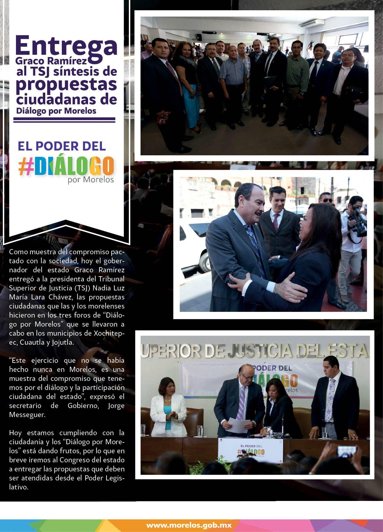 Entrega Graco Ramírez aTSJ síntesis de propuestas ciudadanas de Diálogo por Morelos.