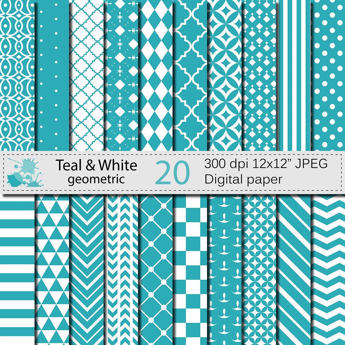 Teal and White Geometric Digital Paper Set, Geometric Digital papers, Teal White Scrapbooking papers, Instant Digital Download by VRDigitalDesign on Etsy